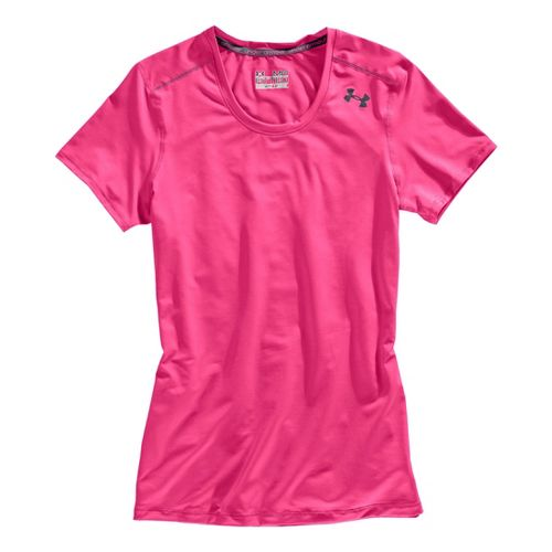 Womens Under Armour Sonic Short Sleeve Technical Tops - Pinkadelic/Lead XL
