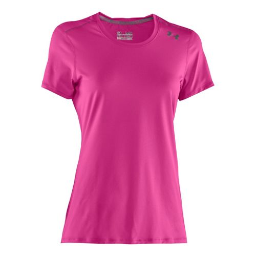 Womens Under Armour Sonic Short Sleeve Technical Tops - Playful/Graphite XL