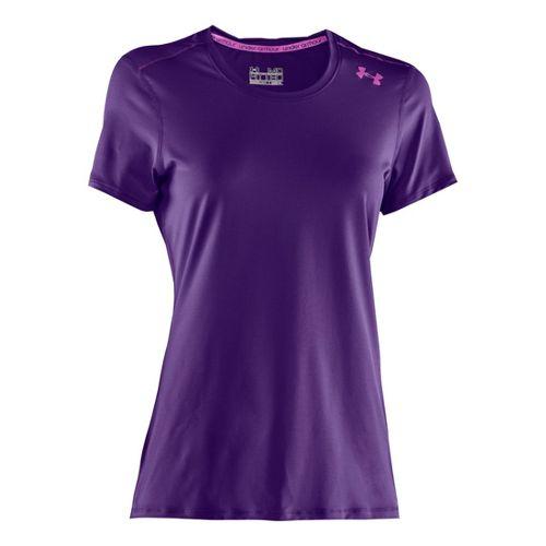 Womens Under Armour Sonic Short Sleeve Technical Tops - Purple Rain/Strobe M