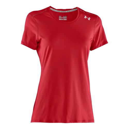 Womens Under Armour Sonic Short Sleeve Technical Tops - Red/White XL