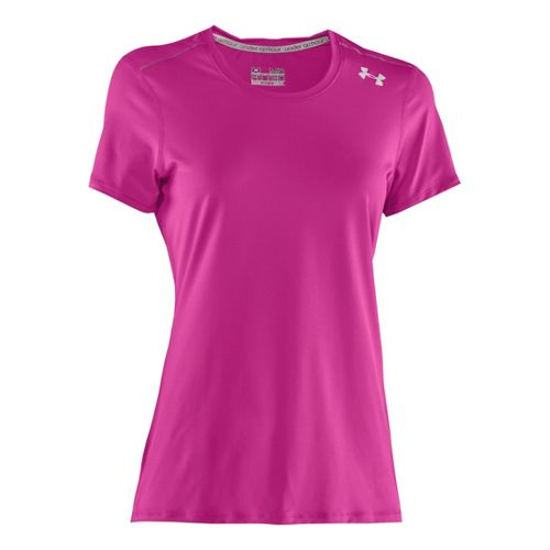 Womens Under Armour Sonic Short Sleeve Technical Tops - Strobe/Lead XS