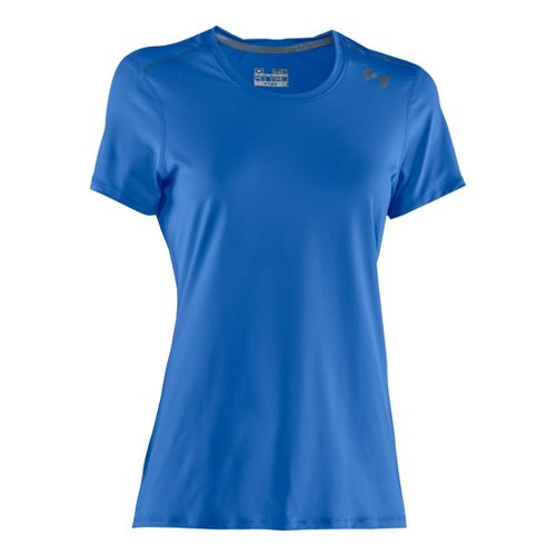 Womens Under Armour Sonic Short Sleeve Technical Tops - Water/Graphite S