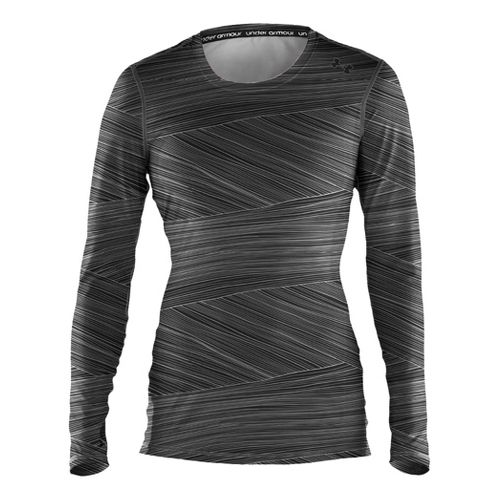 Womens Under Armour Sonic Printed Long Sleeve No Zip Technical Tops - Black/Black M