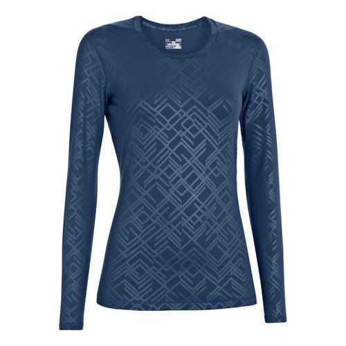 Womens Under Armour Sonic Printed Long Sleeve No Zip Technical Tops - Indigo S