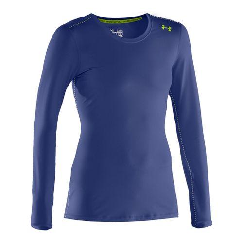 Womens Under Armour Sonic Long Sleeve No Zip Technical Tops - Blu-Away/Hyper Green M
