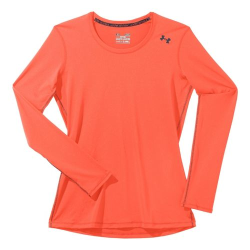 Womens Under Armour Sonic Long Sleeve No Zip Technical Tops - Electric Tangerine/Lead M