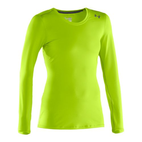 Womens Under Armour Sonic Long Sleeve No Zip Technical Tops - Hyper Green/Lead XL