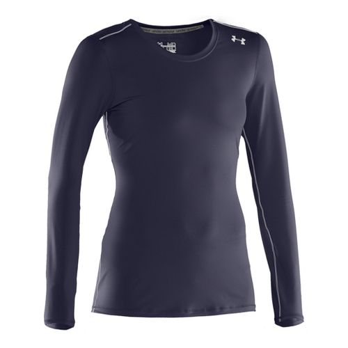Womens Under Armour Sonic Long Sleeve No Zip Technical Tops - Midnight Navy/White L