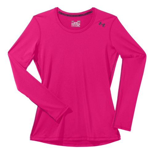 Womens Under Armour Sonic Long Sleeve No Zip Technical Tops - Pinkadelic/Lead S