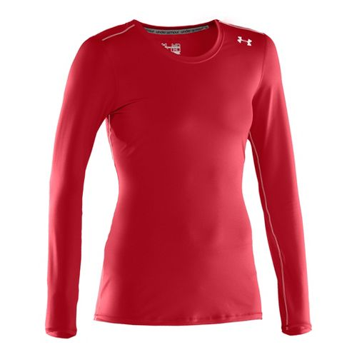Womens Under Armour Sonic Long Sleeve No Zip Technical Tops - Red/White S