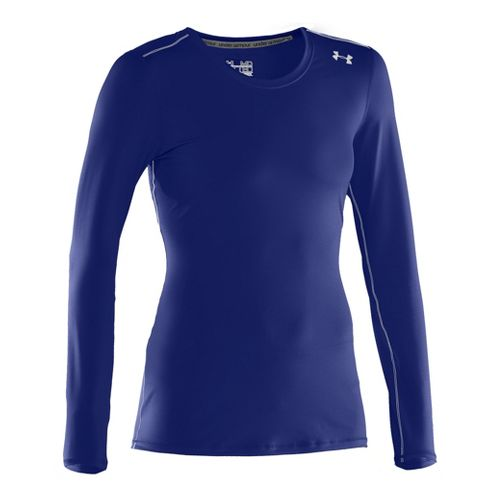 Womens Under Armour Sonic Long Sleeve No Zip Technical Tops - Royal/White XS