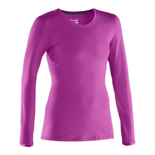 Womens Under Armour Sonic Long Sleeve No Zip Technical Tops - Strobe/Lead XL