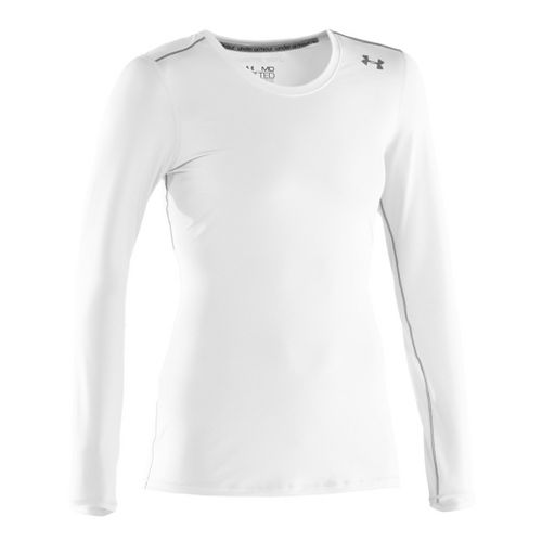 Womens Under Armour Sonic Long Sleeve No Zip Technical Tops - White/Graphite XL
