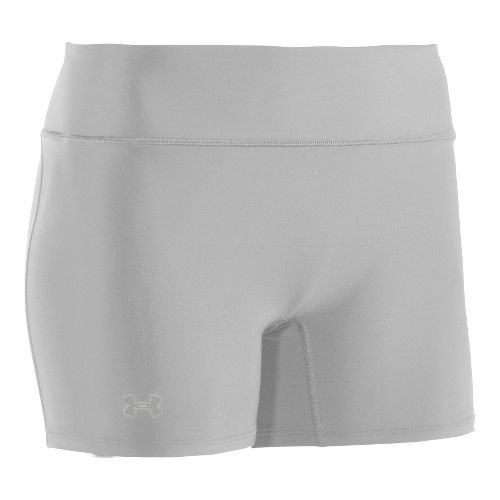 Womens Under Armour Authentic Shorty Fitted Shorts - White/Silver L