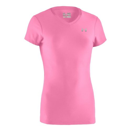 Womens Under Armour Authentic Short Sleeve Technical Tops - Fluo Pink/Silver XS
