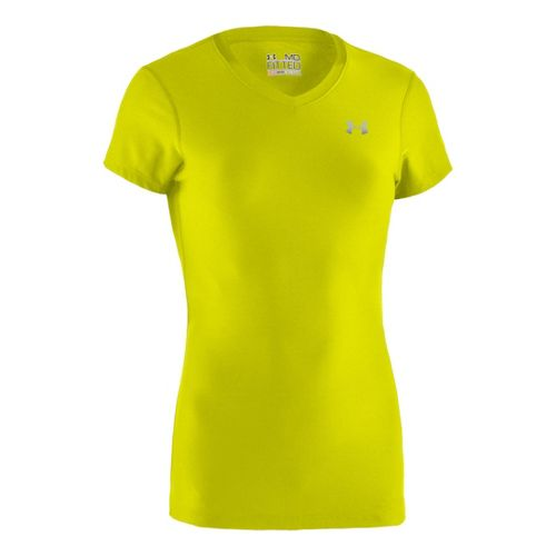 Womens Under Armour Authentic Short Sleeve Technical Tops - High Vis Yellow/Silver XXL