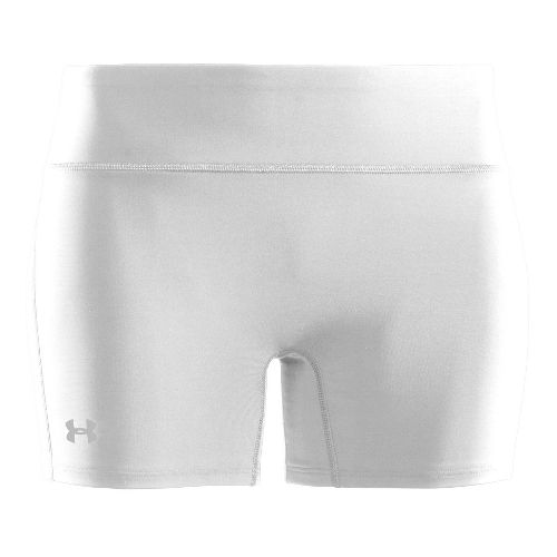 Womens Under Armour Authentic Mid Fitted Shorts - White/Silver L