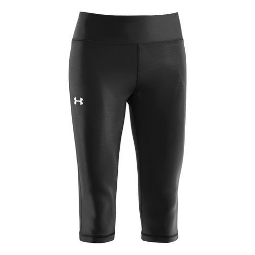 Womens Under Armour Authentic 15 Capri Tights - Black/Silver XS