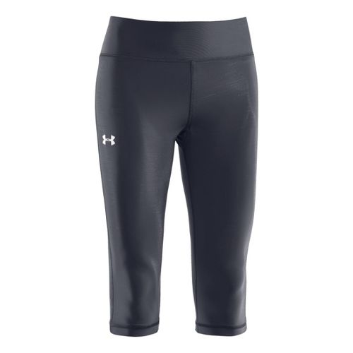 Womens Under Armour Authentic 15 Capri Tights - Lead/Silver XXL