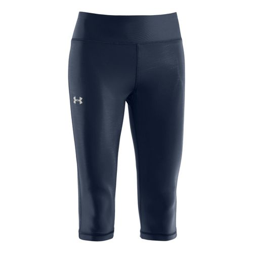 Womens Under Armour Authentic 15 Capri Tights - Wire/Silver M