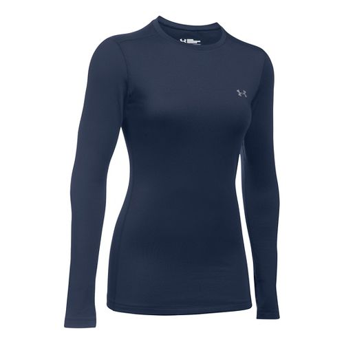 Womens Under Armour ColdGear Fitted Crew Long Sleeve Technical Tops - Midnight Navy XS