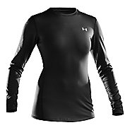 Womens Under Armour ColdGear Fitted Crew Long Sleeve Technical Tops - Black/Silver XL