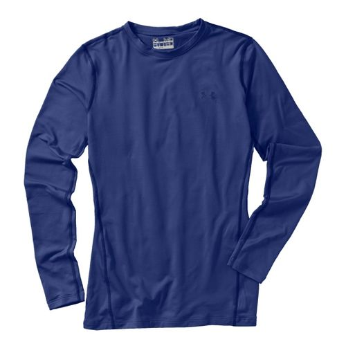 Womens Under Armour Coldgear Fitted Crew Long Sleeve No Zip Technical Tops - Blu-Away/Blu-Away ...