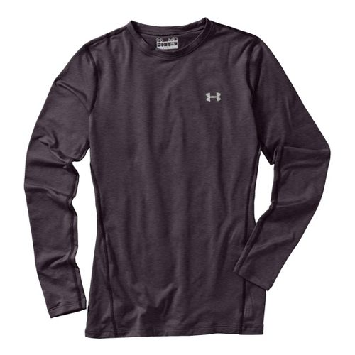 Womens Under Armour Coldgear Fitted Crew Long Sleeve No Zip Technical Tops - Carbon ...