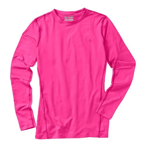 Womens Under Armour Coldgear Fitted Crew Long Sleeve No Zip Technical Tops - ...