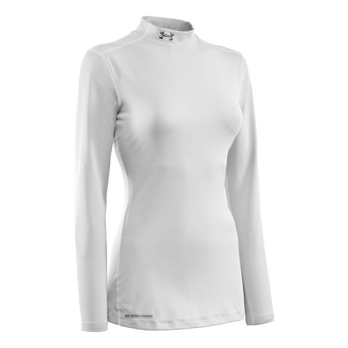 Womens Under Armour ColdGear Fitted Mock Long Sleeve Technical Tops - White XL