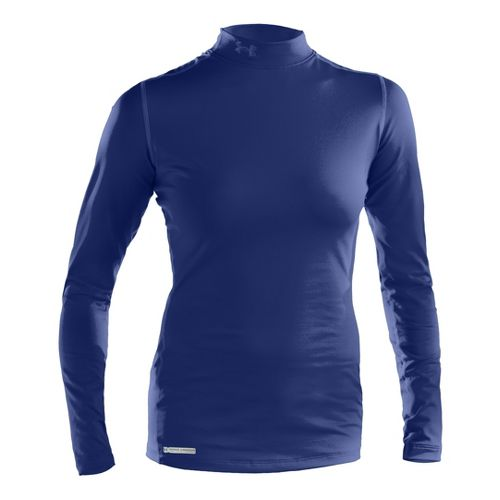 Womens Under Armour ColdGear Fitted Mock Long Sleeve No Zip Technical Tops - Blu-Away S ...
