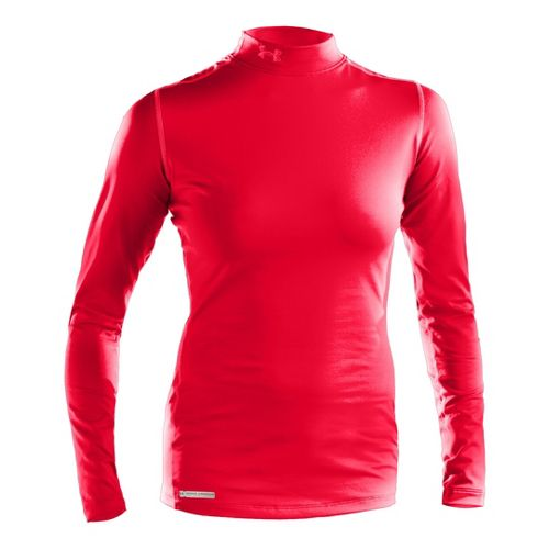 Womens Under Armour ColdGear Fitted Mock Long Sleeve No Zip Technical Tops - Neo Pulse/Neo ...