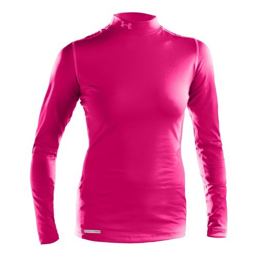Womens Under Armour ColdGear Fitted Mock Long Sleeve No Zip Technical Tops - White M ...