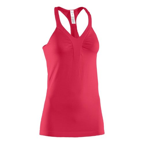 Womens Under Armour Perfectly Seamless V-Tanks Technical Tops - Hibiscus/Hibiscus XS