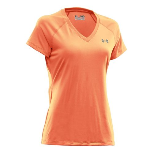 Womens Under Armour Tech Shortsleeve T Technical Tops - After Glow L