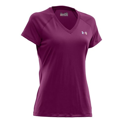 Womens Under Armour Tech Shortsleeve T Technical Tops - Aubergine/Iridescent Blue S