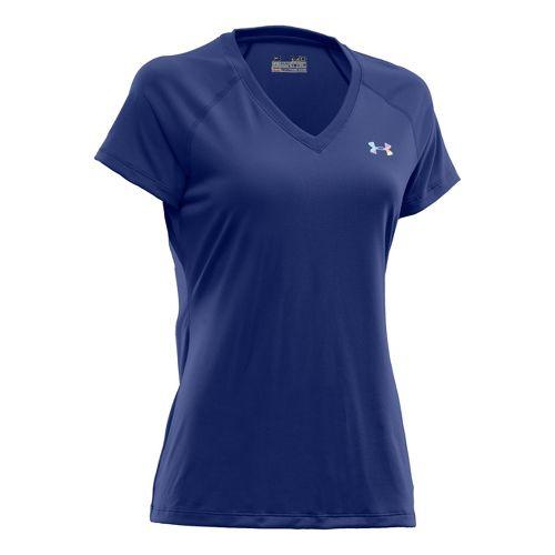 Womens Under Armour Tech Shortsleeve T Technical Tops - Blu-Away/Iridescent Blue XS