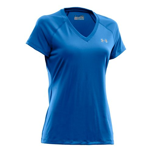 Womens Under Armour Tech Shortsleeve T Technical Tops - Blue Taro/Iridescent Blue XS