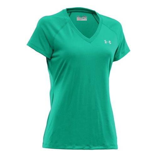 Womens Under Armour Tech Shortsleeve T Technical Tops - Emerald Lake M