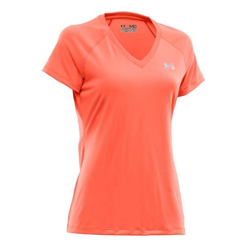 Womens Under Armour Tech Shortsleeve T Technical Tops - Electric Tangerine/Iridescent Blue XL