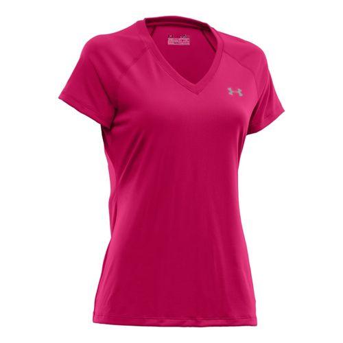 Womens Under Armour Tech Shortsleeve T Technical Tops - Exuberant Pink S