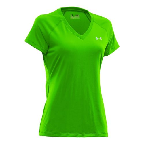 Womens Under Armour Tech Shortsleeve T Technical Tops - Hyper Green/Iridescent Blue XL