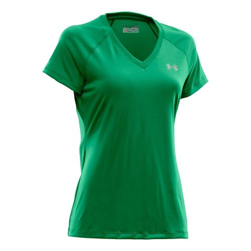 Womens Under Armour Tech Shortsleeve T Technical Tops - Jelly Bean/Iridescent Blue M