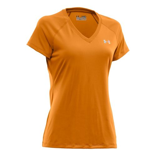 Womens Under Armour Tech Shortsleeve T Technical Tops - Shine/Iridescent Blue L