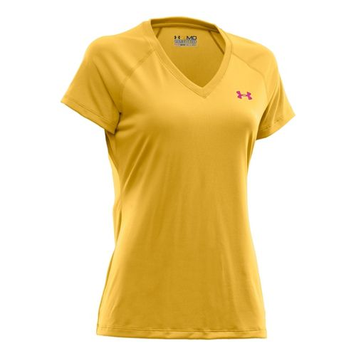 Womens Under Armour Tech Shortsleeve T Technical Tops - Sunspark/Honeysuckle XS