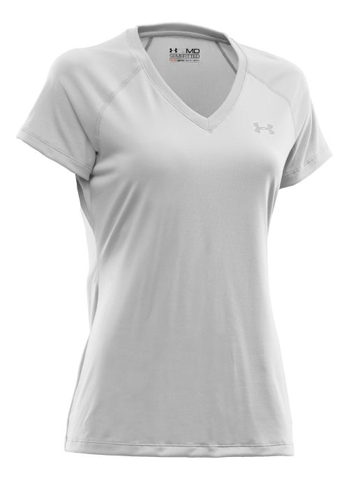 Womens Under Armour Tech Shortsleeve T Technical Tops - White/Silver S