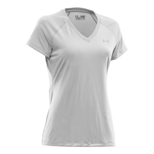 Womens Under Armour Tech Shortsleeve T Technical Tops - White/Silver L