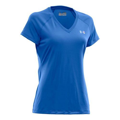 Womens Under Armour Tech Shortsleeve T Technical Tops - Water/Iridescent Blue M