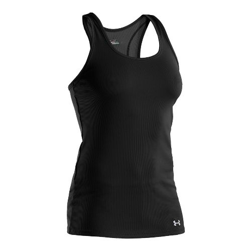Womens Under Armour Victory Tanks Technical Tops - Black/Aluminum M
