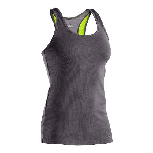 Womens Under Armour Victory Tanks Technical Tops - Carbon Heather/Hyper Green S
